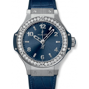 Replique Montre Hublot Big Bang Acier Bleu Diamants 38mm Dames 361.SX.7170.LR.1204
